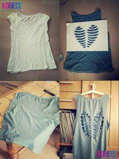 Camiseta customizada com coração vazado nas costas