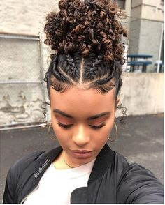 Save by hermie braids. in 2019 curly hair styles, hair styles, natural hai Cute Curly Hairstyles, Black Women Hairstyles, Baddie Hairstyles, Protective Hairstyles, School Hairstyles, African Hairstyles, Wedding Hairstyles, Braids For Curly Hair, Mixed Girl Hairstyles