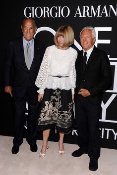 Anna Wintour Photos Photos - (L-R) Oscar de la Renta, Anna Wintour and Giogrio Armani attend Giorgio Armani One Night Only NYC at SuperPier on October 24, 2013 in New York City. - Arrivals at the Giorgio Armani SuperPier Show