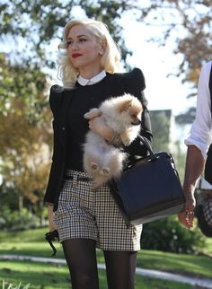 Gwen Stefani style! Love her dog too!