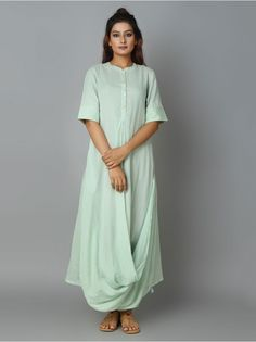 Mint Green Mulmul Hand Embroidered Cowl Dress
