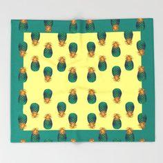 PINEAPPLES Throw Blanket by Heaven7 - $49.00