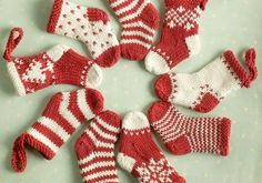 Knitted Mini Christmas Stockings from Little Cotton Rabbits