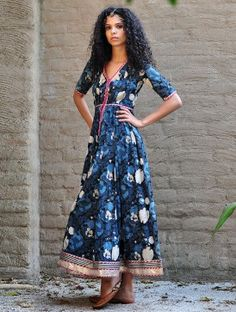 Blue Natural Dyed Block Printed Gota Embellished Fit & Flare Cotton Maxi Dress