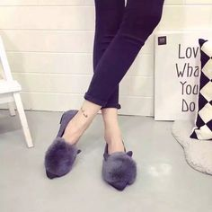 >> Click to Buy << New Fashion 2016 Autumn Women Flats Pointed Toe Rabbit Ears Shoes Woman Rabbit Fur Single Flat Women Shoes Casual Shoes Loafers #Affiliate
