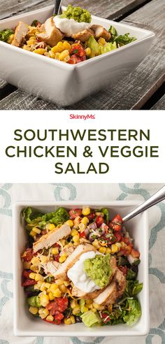 Southwestern Chicken & Veggie Salad - Amazing flavors with a southwest kick! #skinnyms #cleaneating