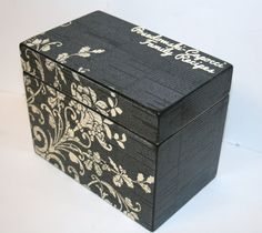 Recipe Box 4x6 4 x 6 Custom - You Design It Handmade Personalized Wooden Recipe Card Address File Box. $35.00, via Etsy.