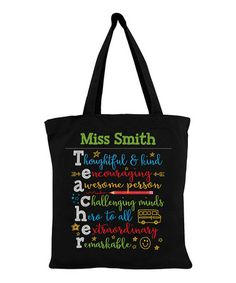 This Colorful Teacher Personalized Tote Bag is perfect! #zulilyfinds