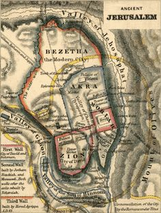"Ancient Jerusalem Map  located by the Valley of Gihon. Take note: the old African map before slavery shows a ""Gihon river"". SEE SOMETHING FAMILIAR? AKKRA SOUNDS LIKE ACCRA, GHANA WHICH THE NIGER RIVER (FORMERLY GIHON) FLOWS AROUND."