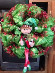 Hey, I found this really awesome Etsy listing at https://www.etsy.com/listing/212189045/whimsical-christmas-elf-wreath