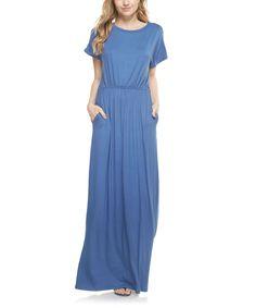 Moon Blue Pocket Scoop Neck Maxi Dress