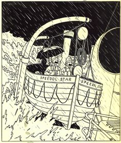 Hergé (1907-1983, Belgium)  - 1948 Illustration for cover of Tintin Magazine, 1948, Dec. 9. Indian ink and gouache on drawing paper - 185 x 219 mm - Foundation Hergé Collection