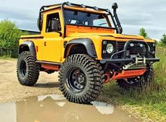 Land Rover Defender 90 Tdi pickup truck NAS EDITION customized Twisted ICON extreme adventure sports and Explorer experience. So nice in this yellow. Landrover Defender, Defender 90, Land Rover Defender 110, Jeep 4x4, Jeep Truck, Pickup Trucks, Farm Trucks, Van 4x4, Hummer