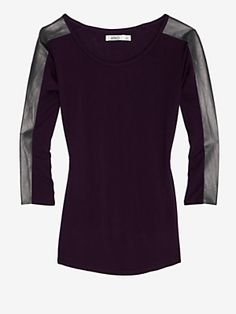 Totally hot top.  Aiko Leather Sleeve Tee