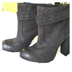 Black Rosegold Booties with Belt Detail in size 9. Super cute black Rosegold leather booties with belt detail.  Size 39.5.  Slip on (no zipper).  New and never worn.  No flaws.  They run small - more like 9 than 9.5. Rosegold Shoes Ankle Boots & Booties