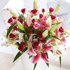 red roses and lilies for Valentine's Day