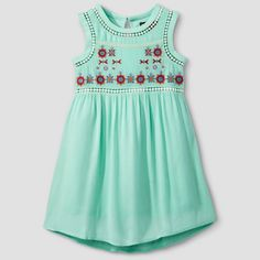 Girls Stella & Sienna Embroidered A Line Dress - Mint Green : Target
