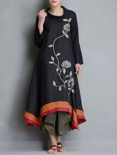 Buy JAYPORE Black Embroidery Linen Asymmetric Kurti online in India at best price. Tunic Designs, Kurta Designs Women, Dress Neck Designs, Embroidery Suits Design, Embroidery Dress, Linen Dress Pattern, Kurta Patterns, Kurta Neck Design, Kurti Designs Party Wear