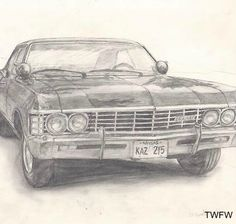 SPN ( Deans Baby) I found this as usaual none of the SPN Pics are mine Supernatural Impala, Supernatural Drawings, Supernatural Fan Art, Impala 67, Chevrolet Impala, Winchester, Fanart, Art Drawings, Cool Art