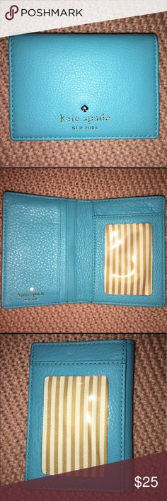 Kate Spade small blue wallet Perfect condition, outside clear pocket for ID kate spade Bags Wallets