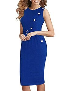 FORTRIC Women Belted Button Decor Summer Bridesmaid Cocktail Party Pencil Dress Blue XXL ** Details can be found by clicking on the image. (This is an affiliate link and I receive a commission for the sales) Blue Dresses, Short Dresses, Dresses For Work, Belted Dress, Bodycon Dress, Belts For Women, Clothes For Women, Knee Length Cocktail Dress, Pencil Dress