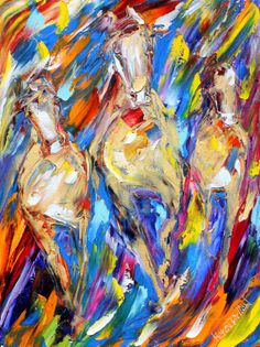 Original Abstract Wild Horses palette knife by Karensfineart