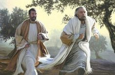 Peter and John running to the tomb. Love this, even though i think they were both younger than pictured.