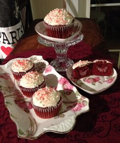 RED VELVET CUPCAKES, FILLED WITH WHITE CHOCOLATE, RASPBERRY FILLING. CREAM CHEESE FROSTING, TOPPED WITH SUGAR PEARLS & SPRINKLES.