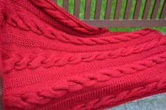 Cable Knit Afghan / Cranberry Red Knitted Throw by danielastange