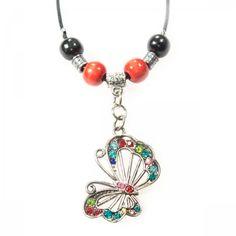 Bunter Schmetterling mit Holz- und Metallperlen