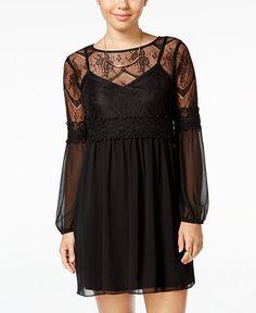 BCX Juniors' Sheer-Sleeve Lace Shift Dress