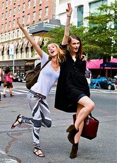 Julia Frauche & Lara Mullen (in) Model's Street Style  After Hervé Leger SS 2013… Love them!!! Happy Fashion Week Everyone!!! <3  —  FollowBonae L'amouronfacebook|twitter|bloglovin'…
