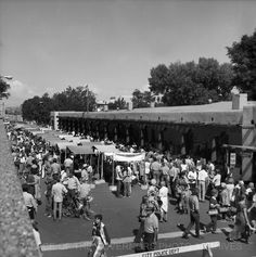 Indian Market Booths in Front of the   Palace of the Governors  Santa Fe, New Mexico - 1973  Negative #132581