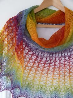 Personal Rainbow hand knitted shawl by MadelinesWardrobe, via Flickr