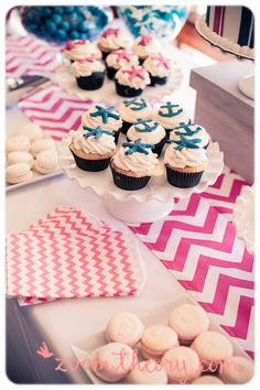 Patterns patterns patterns :) Sweet Sweet Color palette! Nautical Baby Shower Cupcakes. Nautical baby girl theme all girlie girlie