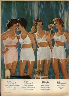 "6539b3a476 A time when all women wear a girdle for figure control with garter tabs.  From left  Charmode ""Zipper Figure Controller"" Open bottom girdle Charmode  ""Figure ..."