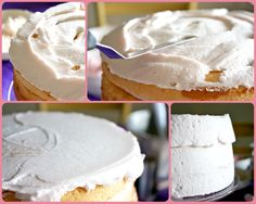White Chocolate Buttercream Frosting - Recipe is at the bottom, under description of how to make a (beautiful) rose hombre cake. White Chocolate Buttercream Frosting, White Chocolate Frosting, Chocolate Frosting Recipes, Cupcake Recipes, Cupcake Cakes, Baking Recipes, Rose Ombre Cake, Biscuits, Hombre Cake