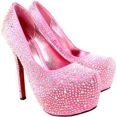 Womens Silver Diamante High Stiletto Heel Court Shoes #pink #heels