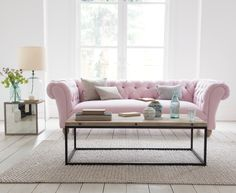 Young Bean sofa in our Pale Rose vintage linen