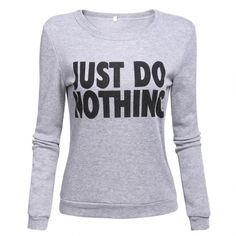 Women Fashion Casual Round Neck Long Sleeve Letter Print Sweats Pullover Sweatshirt