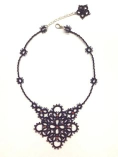Tatted necklace - can be adapted to a snowflake design by adding bead cluster and working in white or blue-white multicolored thread.