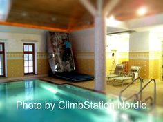 A climbinwall to your luxury spa and swimming pool – we provide climbing walls to all locations. Picture from a private house in Moscow - Russia. Photo by ClimbStation Nordic.