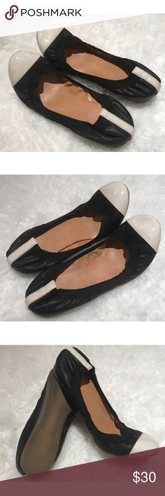 J. Crew Mila Black with White Cap Toe Ballet Flats Still in good condition Mila J. crew flats in size 7. Fits true to size and really comfortable. Normal wear on the soles. One small flaw on the right flat, some scuffs on it. You might be able o buff it out. ❌No trades or modeling. Open to reasonable offers. Thank you‼ J. Crew Shoes Flats & Loafers