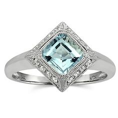 14k White Gold #Aquamarine and Diamond Ring from Borsheims for $675