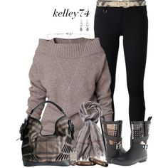 """Burberry Smoke ~ Casual Cashmere"" by kelley74 on Polyvore"