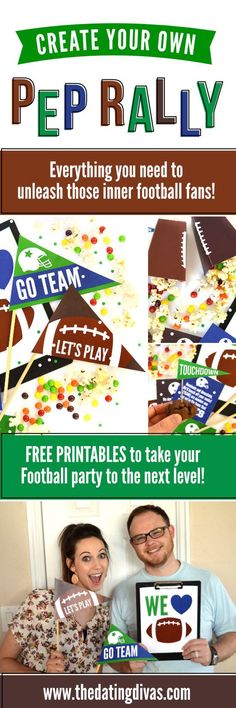 Create Your Own Pep Rally- fun football family date or date night. Free printables for your next football party! #thedatingdivas