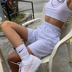 boy shorts, but for girls. Teen Fashion Outfits, Edgy Outfits, Mode Outfits, Retro Outfits, Short Outfits, Look Fashion, Vintage Outfits, Spring Fashion, Fashion Clothes