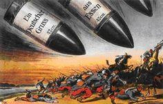 Duitsland -> op het plaatje zie je dat Duitse bommen legers aanvallen. -bondgenootschap -> de Centralen