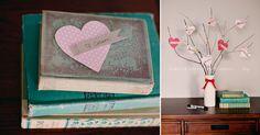 DIY de l'arbre des amours : des coeurs découpés dans des papiers fantaisie, des étiquettes sur lesquelles sont écrits le nom de ceux que nous aimons (ou des messages à notre amoureux), des branches d'arbres dans un vase