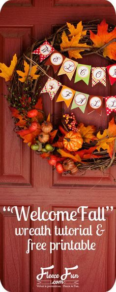 Fall wreath tutorial and a free printable! Love!